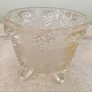 Vintage Frosted Glass Grapes Dish Pedestal